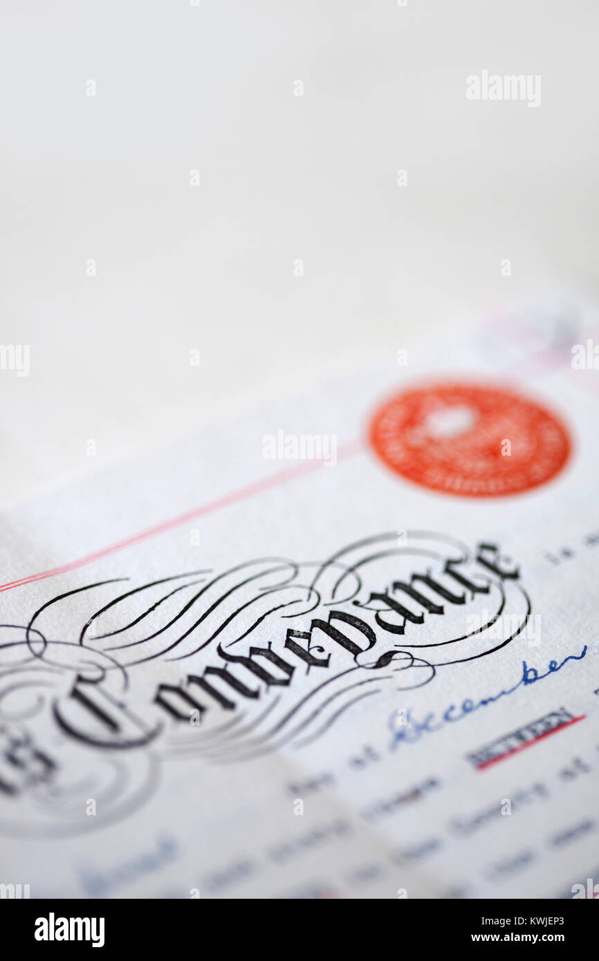 Old UK Inland Revenue Deed of Conveyance - Stock Image