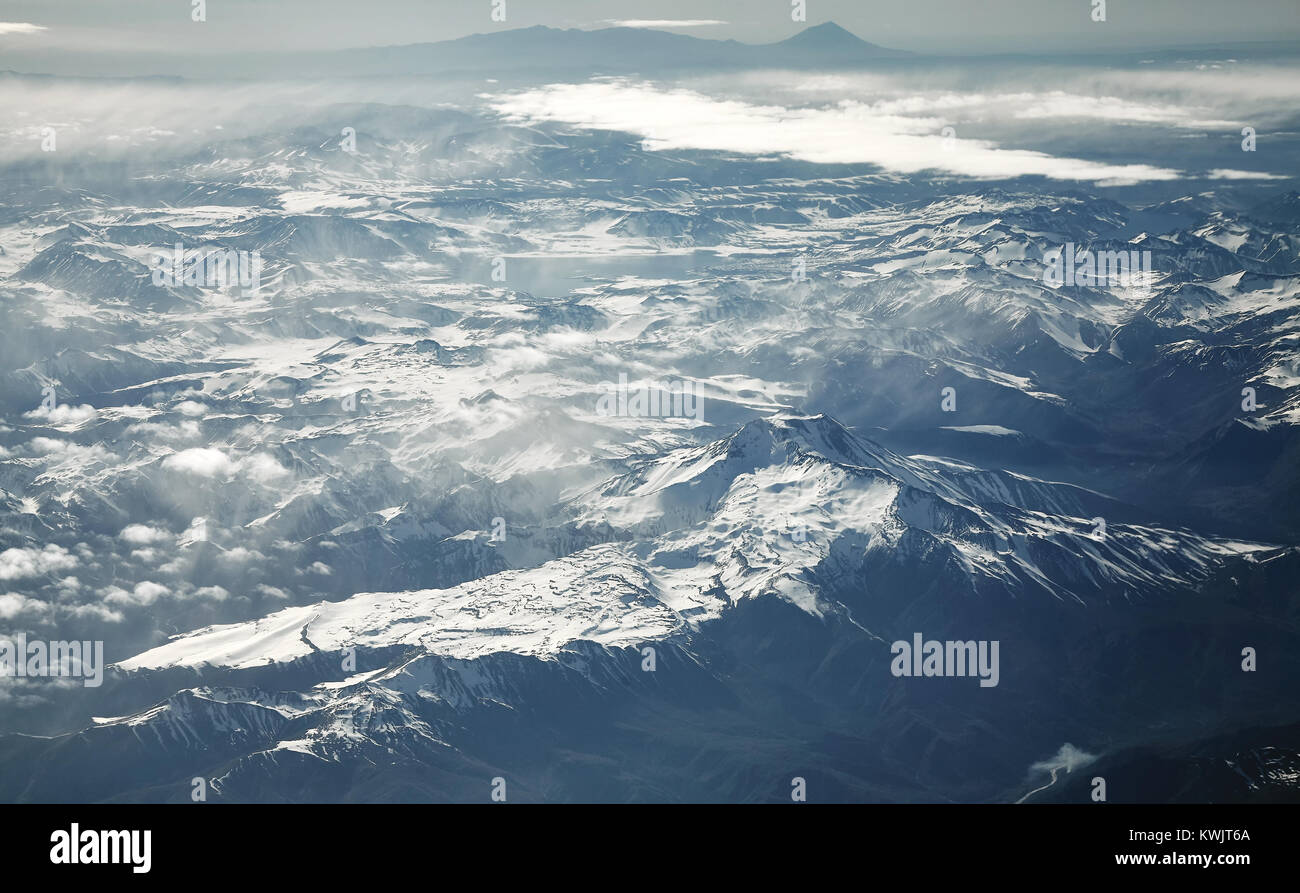 Aerial picture of the Andes mountain range, Chile. - Stock Image