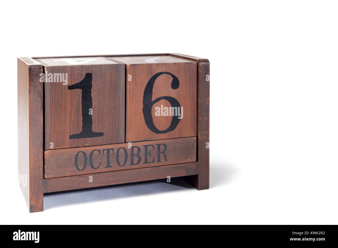Wooden Perpetual Calendar set to October 16th - Stock Image