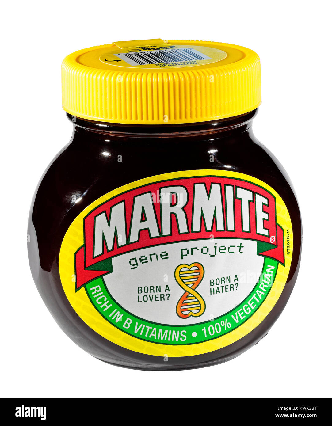 A jar of Marmite - Born a Lover? - Born a Hater? - gene project isolated on a white background - Stock Image