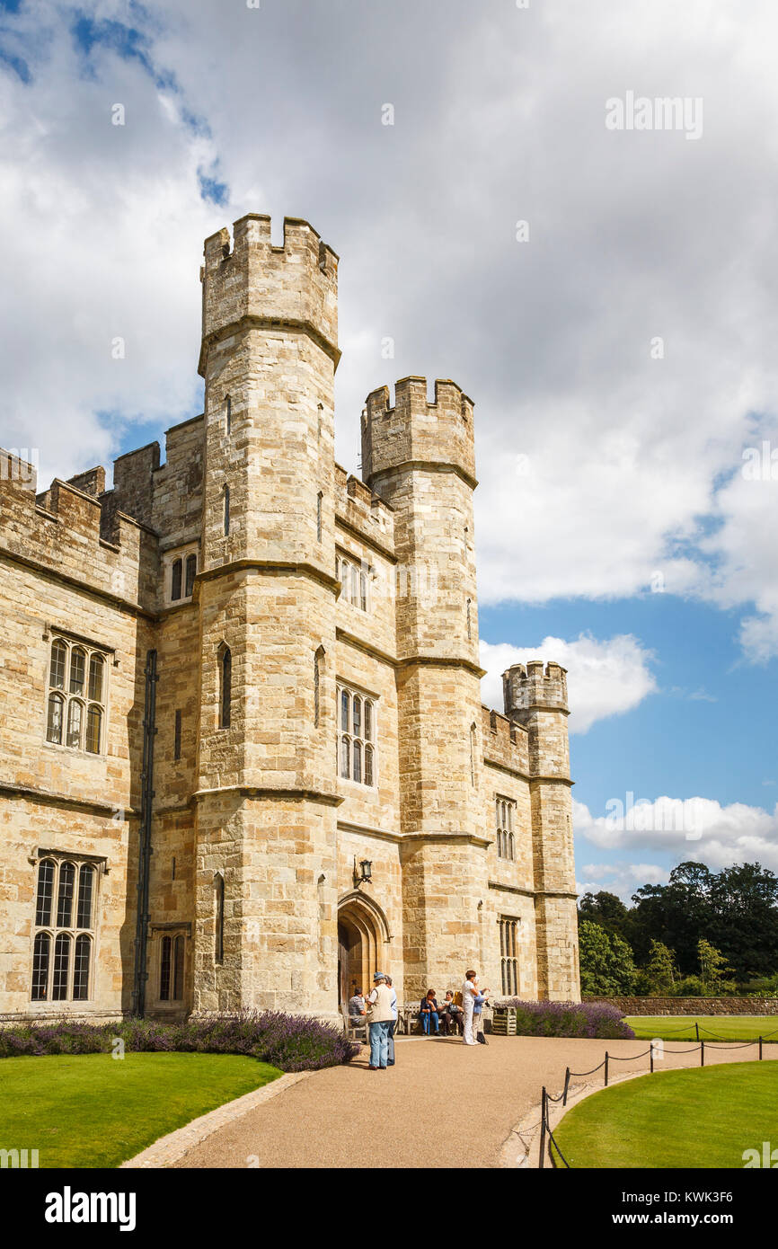 Main entrance to Leeds Castle, near Maidstone, Kent, southeast England, UK with towers and battlements on a sunny - Stock Image