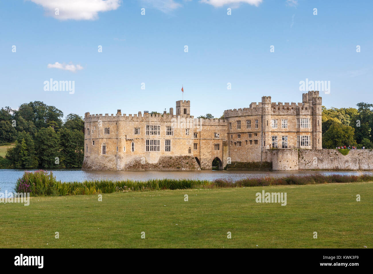 View of the exterior of Leeds Castle and moat, near Maidstone, Kent, southeast England, UK on a sunny summer's - Stock Image