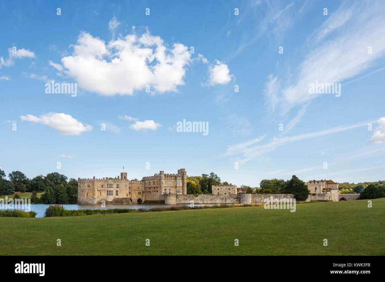 Panoramic view of the exterior of Leeds Castle and moat, near Maidstone, Kent, southeast England, UK on a sunny - Stock Image