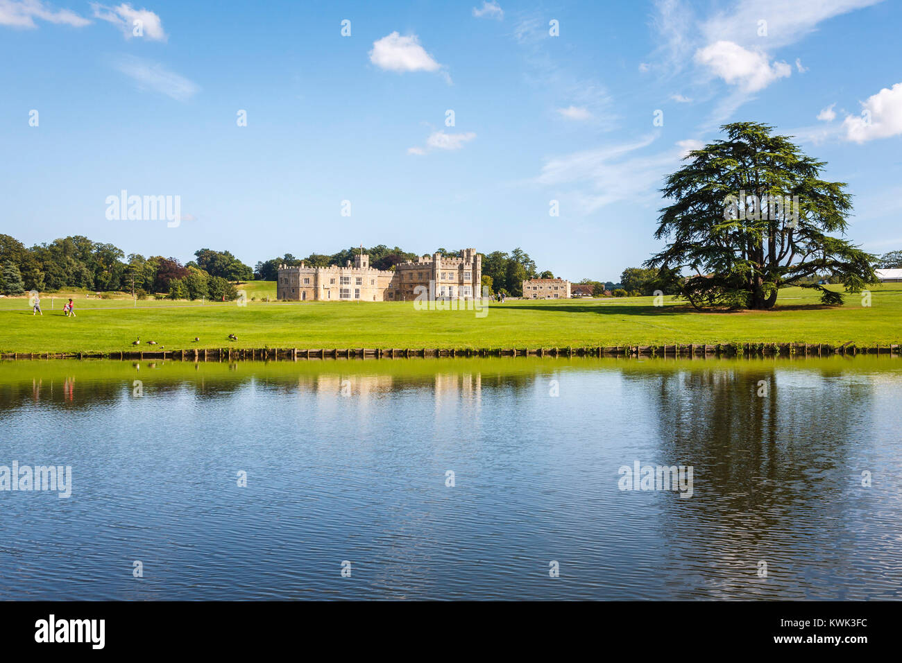 Panoramic view of the exterior of Leeds Castle, near Maidstone, Kent, southeast England, UK on a sunny summer's - Stock Image