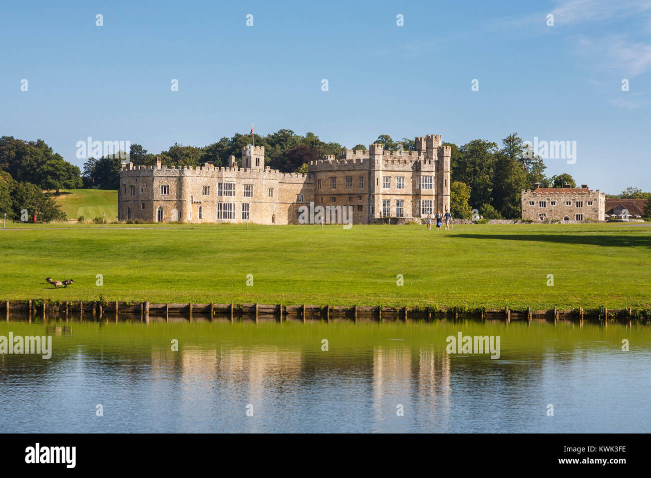 View of the exterior of Leeds Castle, near Maidstone, Kent, southeast England, UK on a sunny summer's day with - Stock Image