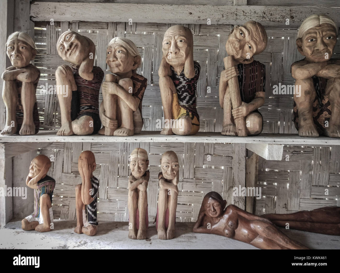 Tau Tau Statue. Tau Tau are a type of effigy / statue made of wood or bamboo. They are particular to the Toraja - Stock Image