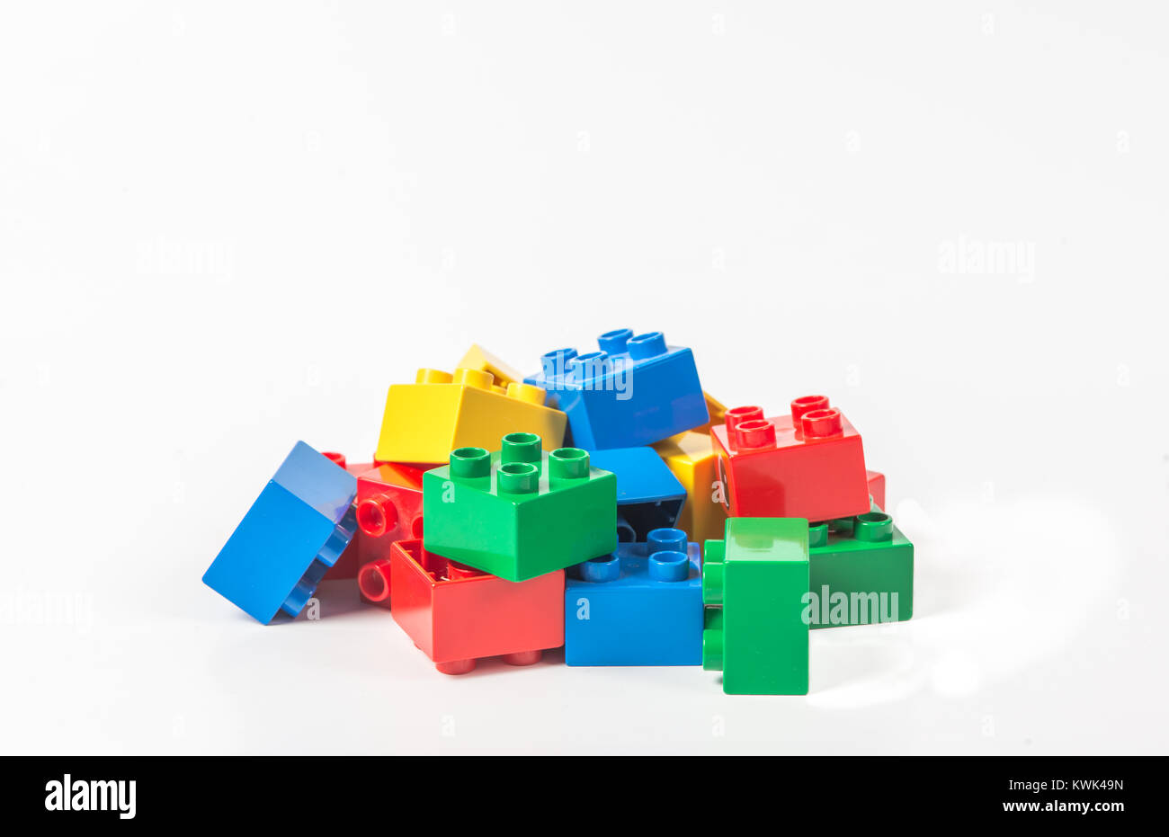Colorful Building blocks isolated on white background - Stock Image
