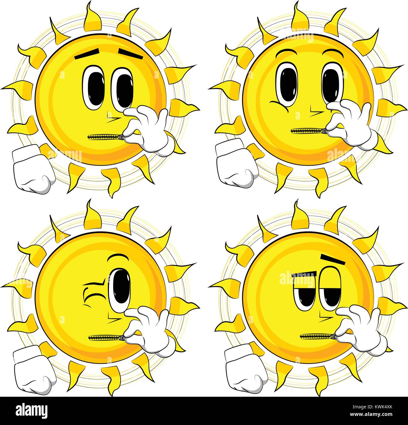 Cartoon sun zipping his mouth. Collection with surprised faces. Expressions vector set. Stock Vector