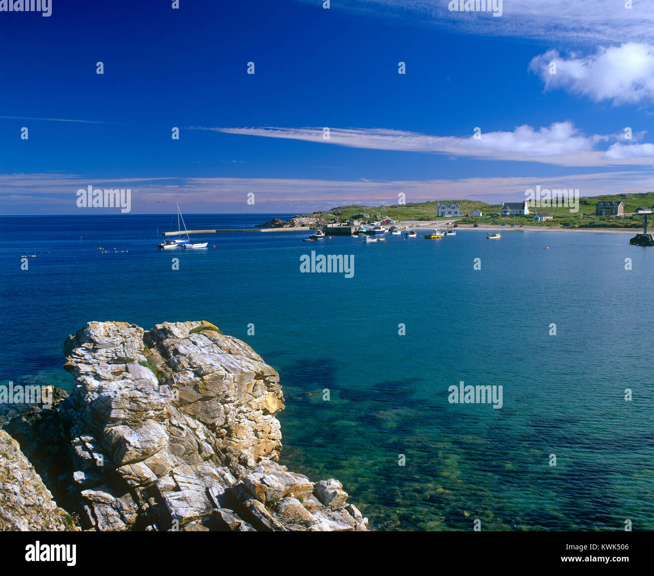 Port na Blagh bay and harbour, County Donegal, Ireland - Stock Image