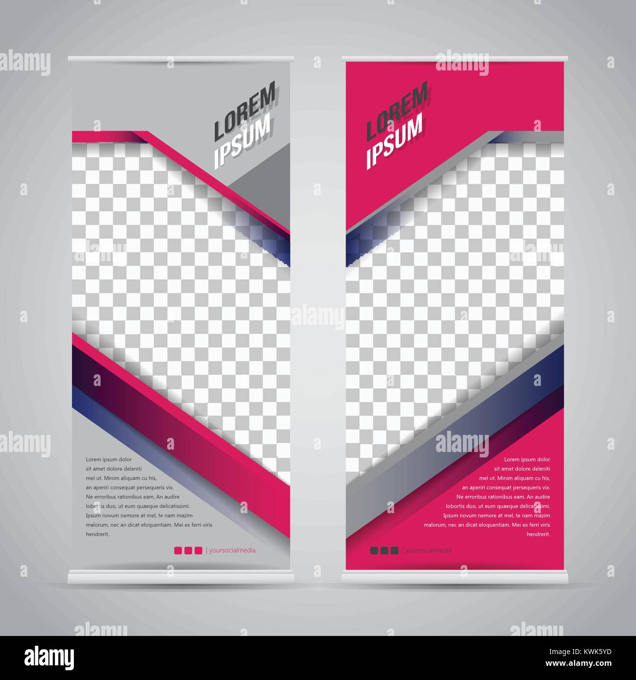 Twin Roll Up Banner Stand Design Template Vector Eps10 Stock