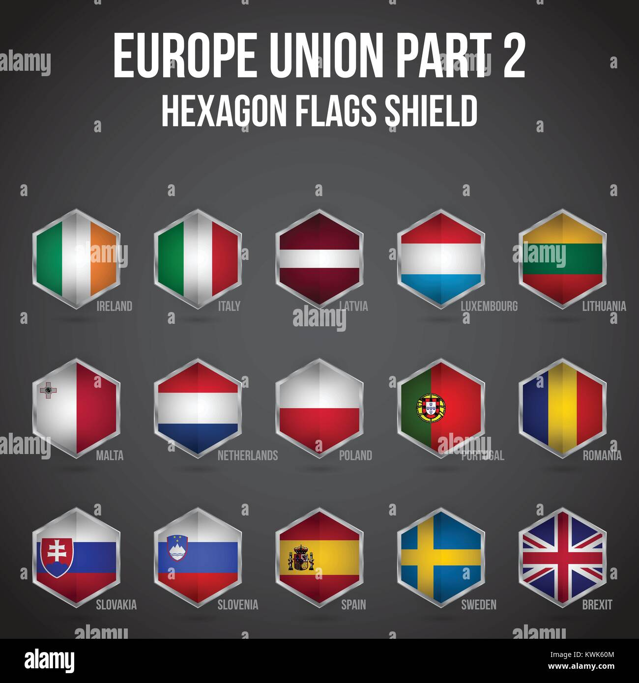 Europe Union Hexagon Flags Shield - Stock Image