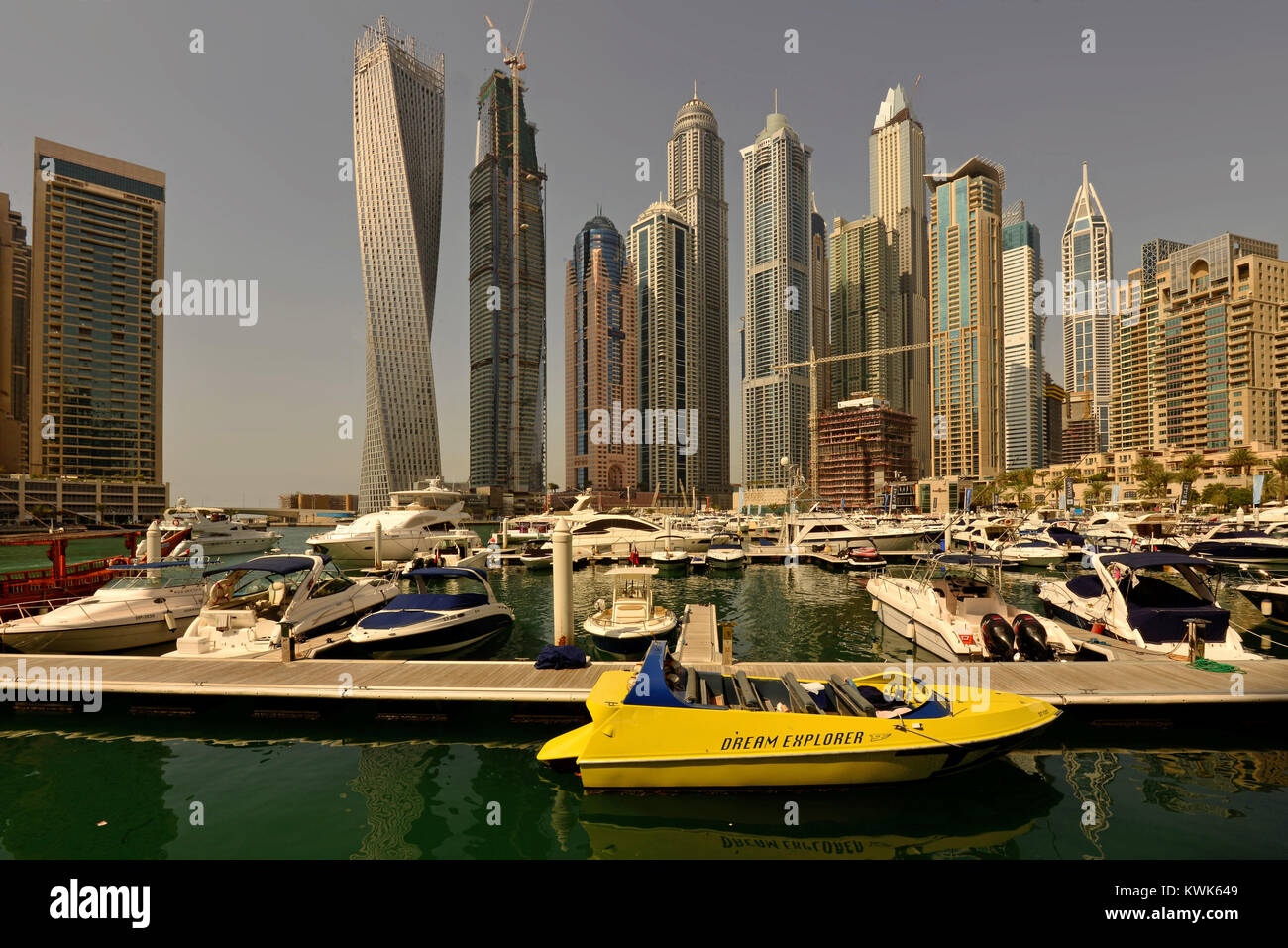 Dubaï Marina: the tallest block of residential skyscrapers - Stock Image