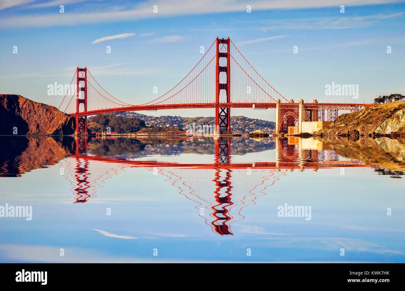 The Golden Gate Bridge, San Francisco, in late evening sun. - Stock Image