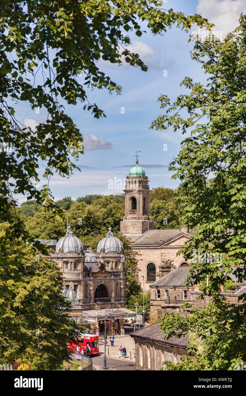 Buxton Opera House and St John's Church, Buxton, Derbyshire, England - Stock Image