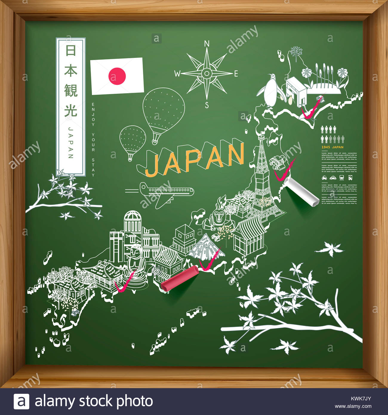 creative Japan travel map on chalkboard