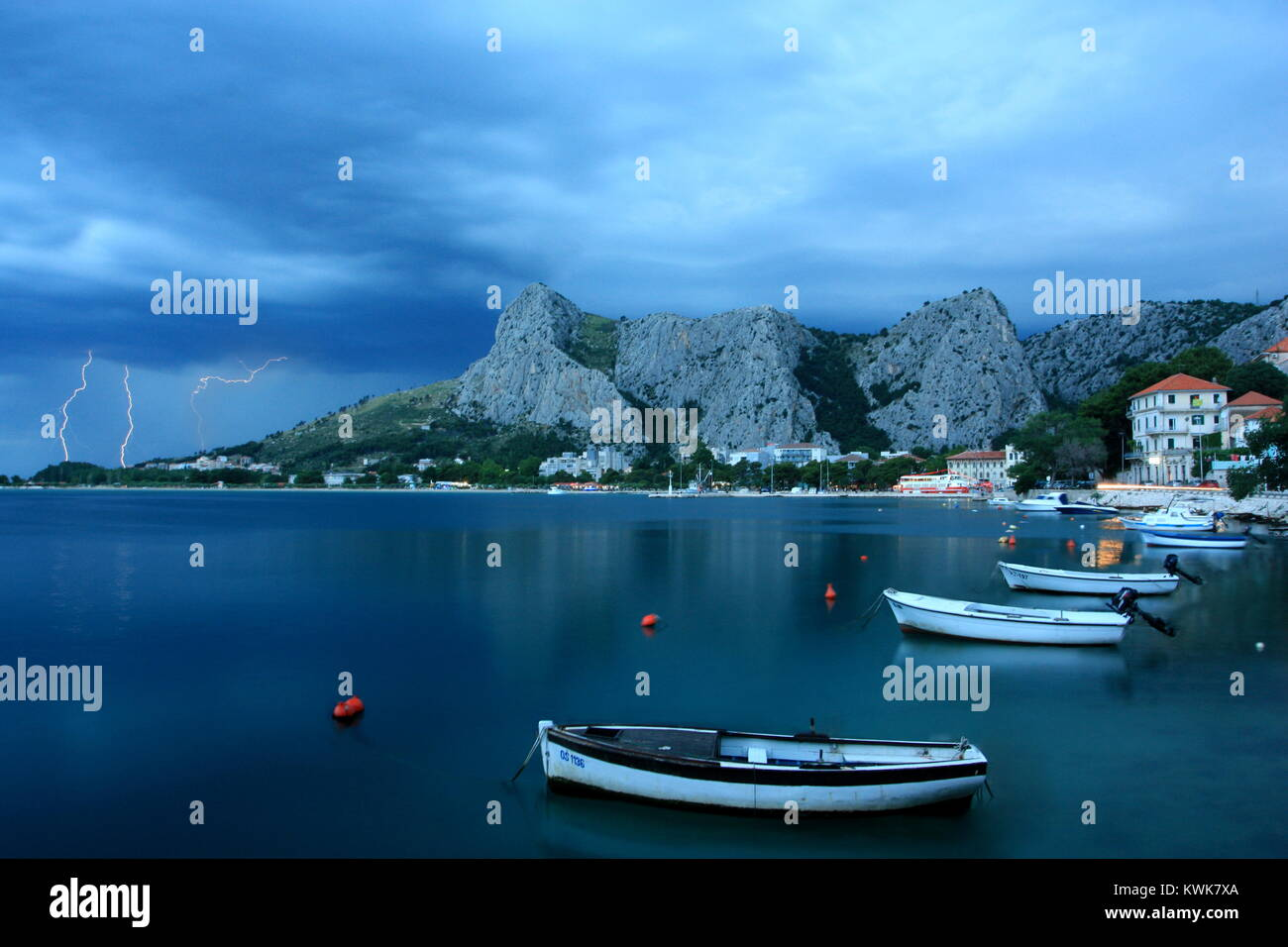 A storm over the dalmatian coast, viewed from the town of Omis - Stock Image
