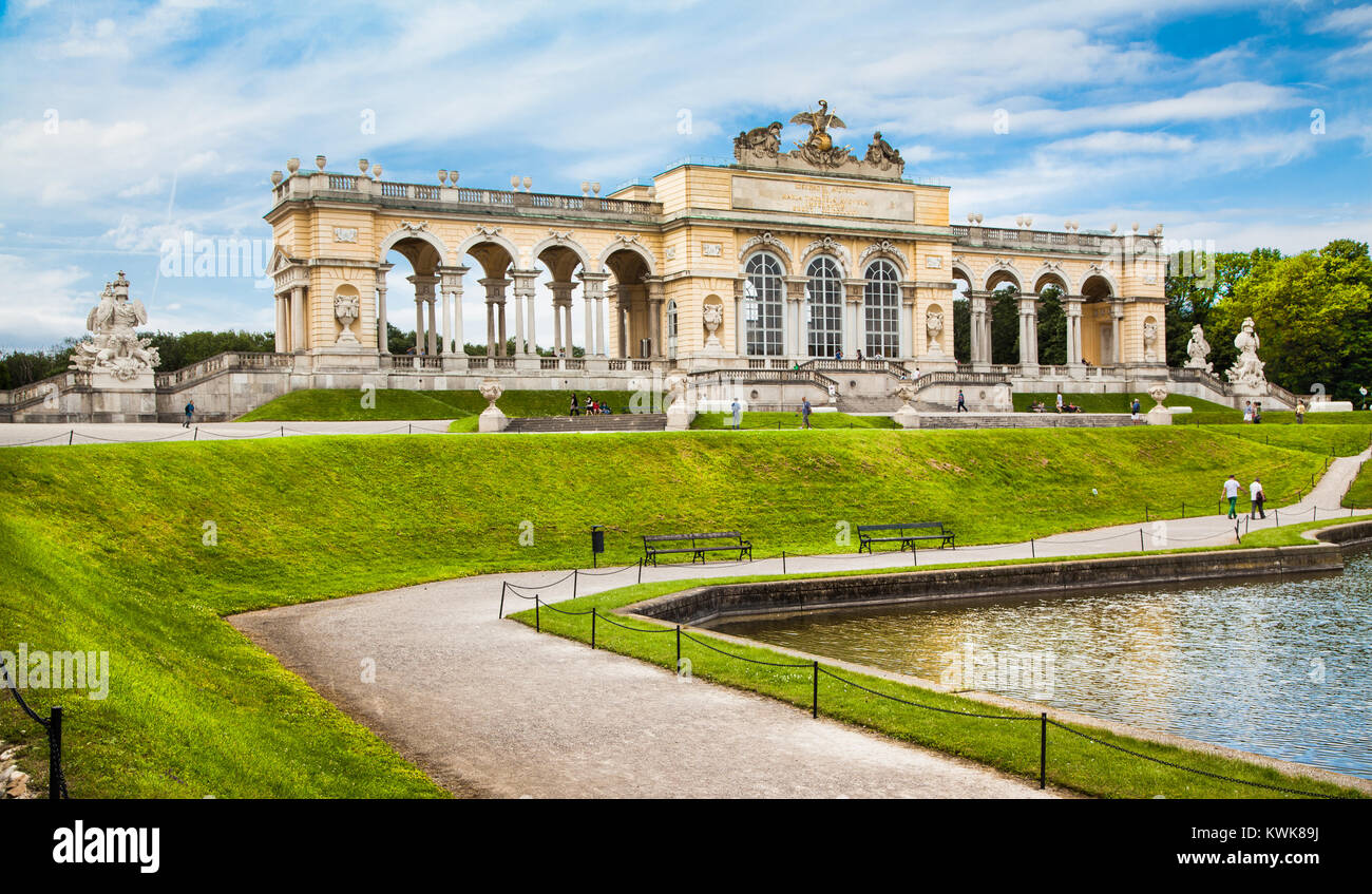 Beautiful view of famous Gloriette at Schonbrunn Palace and Gardens in Vienna, Austria - Stock Image