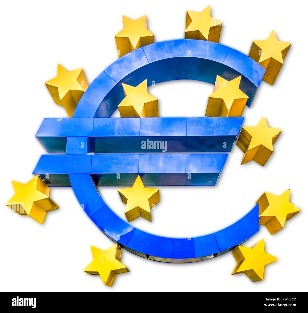 Shiny Metallic 3d Euro Sign Symbol In Blue Color With Golden Stars