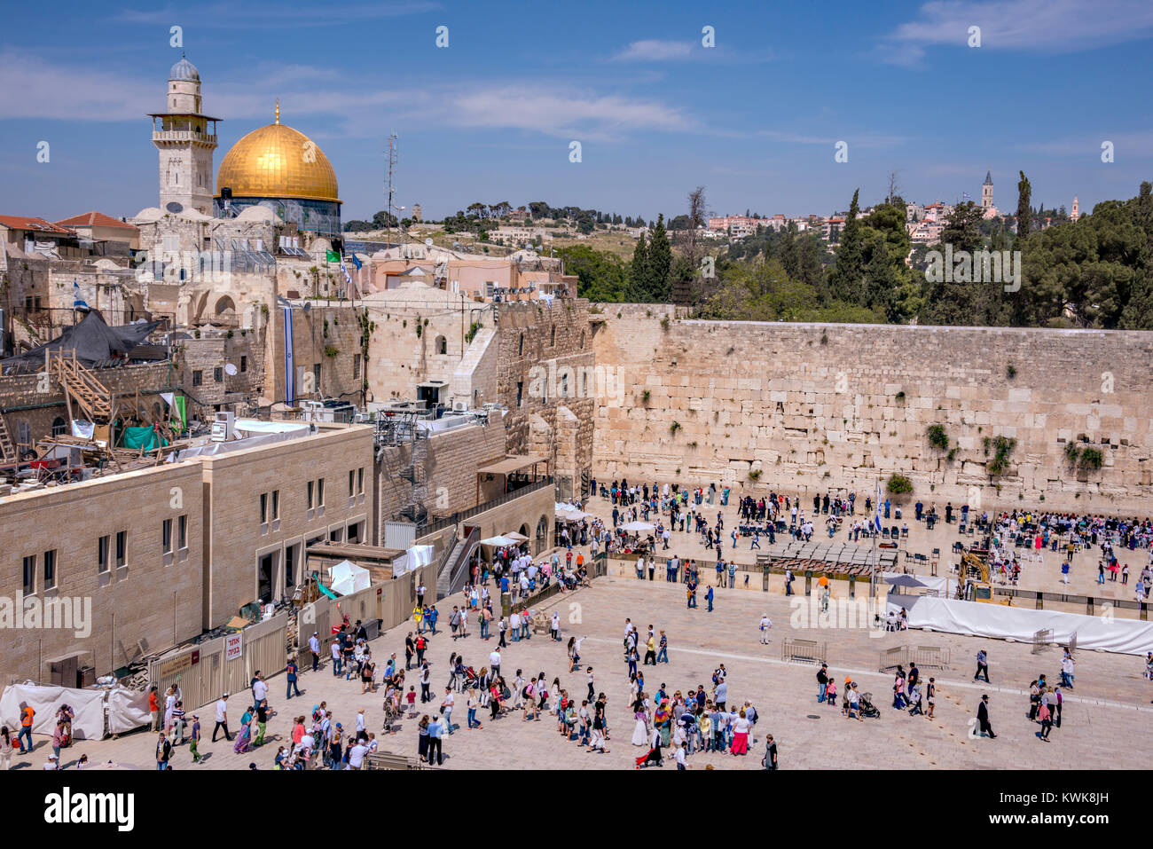 View of the wailing wall and temple in the city of Jerusalem, Israel - Stock Image