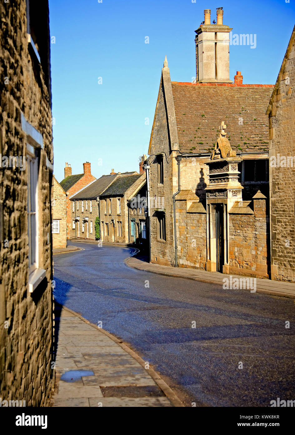 The main road through the small town of Oundle,Northamptonshire - Stock Image