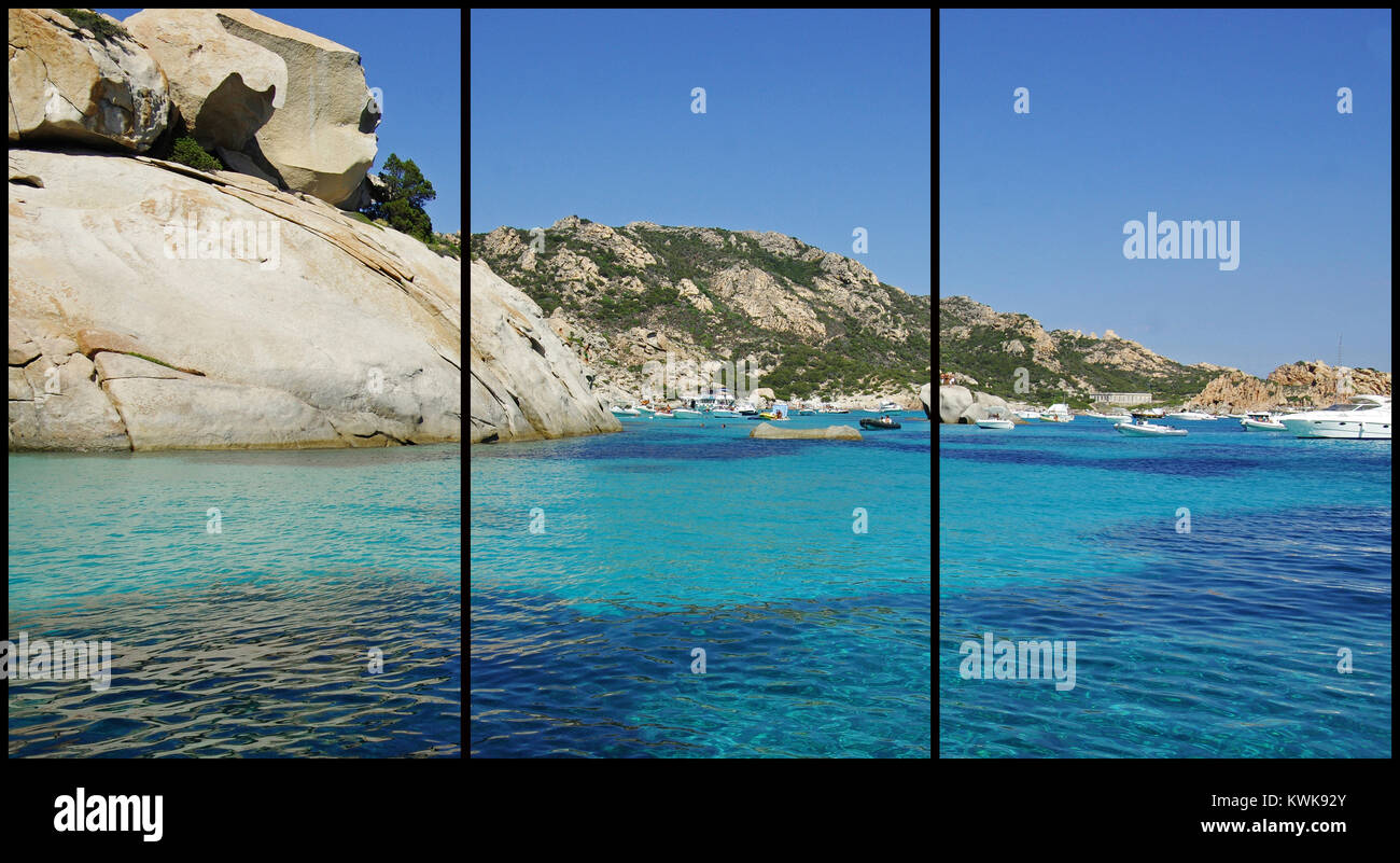Spargi Island, La Maddalena archipelago, Sardinia (Triptych: picture molded into 3 fields for printing decorative - Stock Image