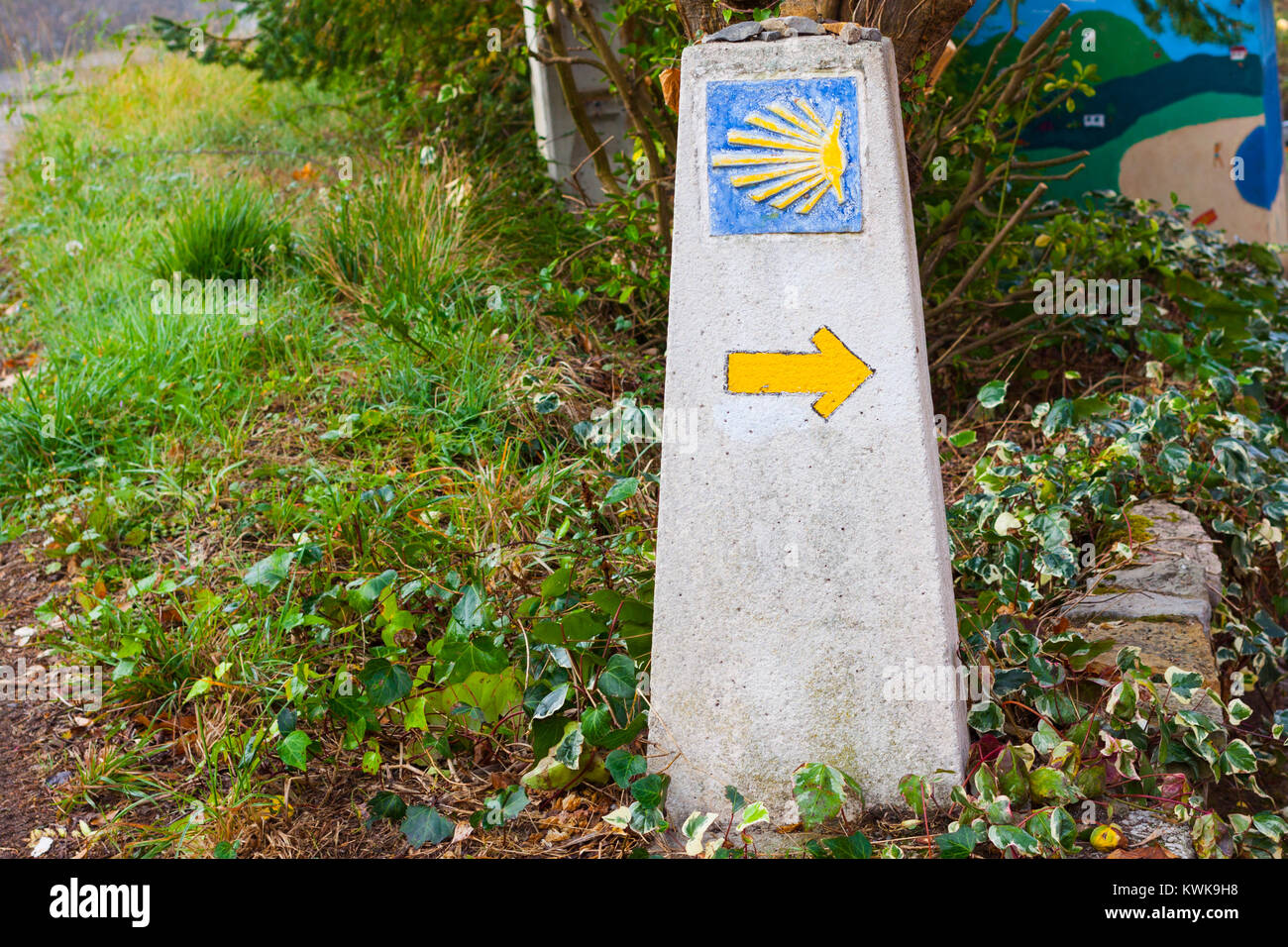 Typical Way of Saint James (Camino de Santiago) milestone with a yellow shell and yellow arrow - Stock Image
