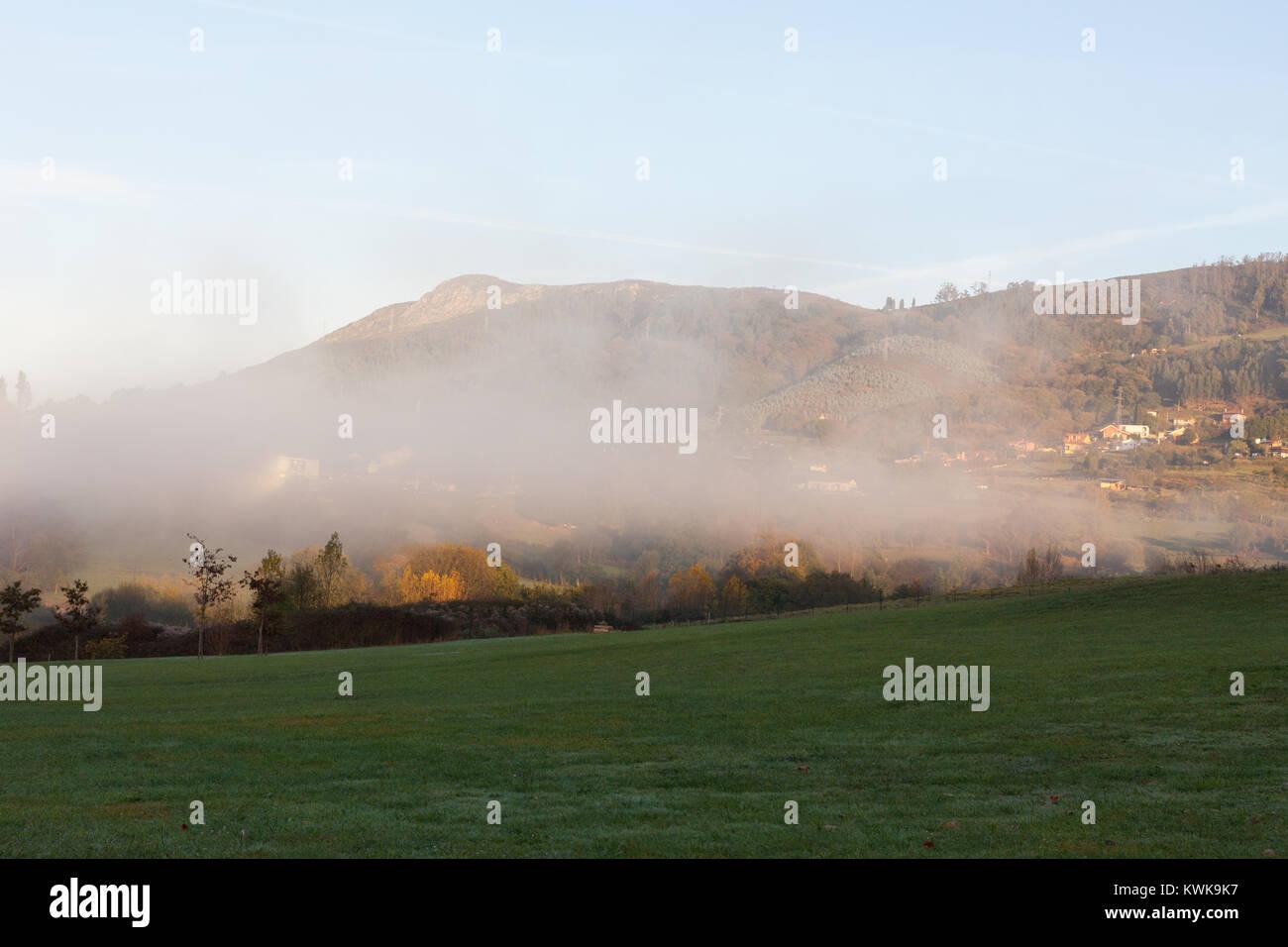 Morning fog in the Park of the Way of Saint James (Parque del Camino de Santiago) in Oviedo, Asturias, Spain - Stock Image