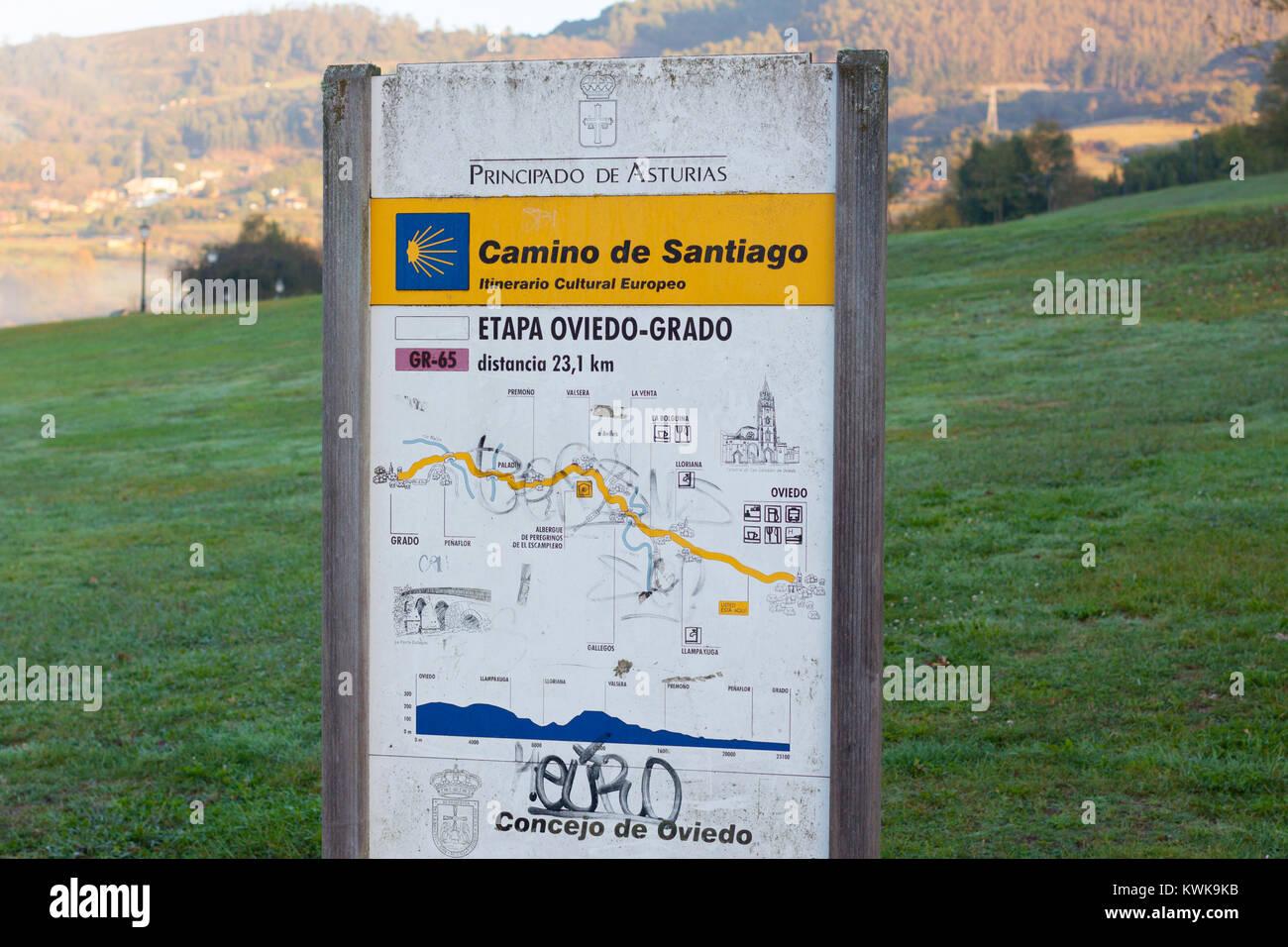 OVIEDO, SPAIN - OCTOBER 31, 2017: Oviedo - Grado stage milestone on the way of Saint James (Camino de Santiago). - Stock Image