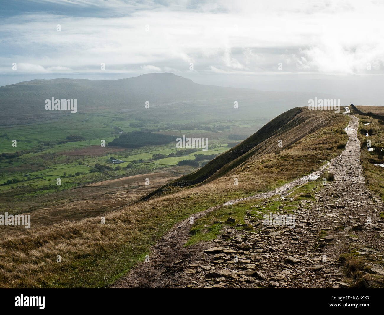 View from Whernside, 3 peaks, Yorkshire Dales, England, UK - Stock Image