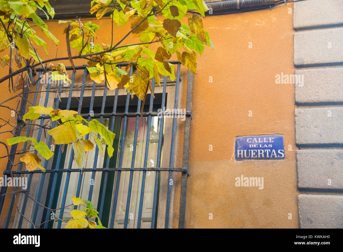 Calle de las Huertas. Madrid, Spain. - Stock Image