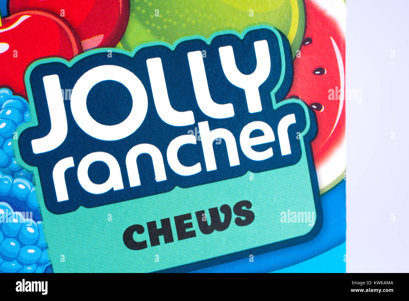 LONDON, UK - DECEMBER 18TH 2017: A close-up of the Jolly Rancher logo, on 18th December 2017. - Stock Image