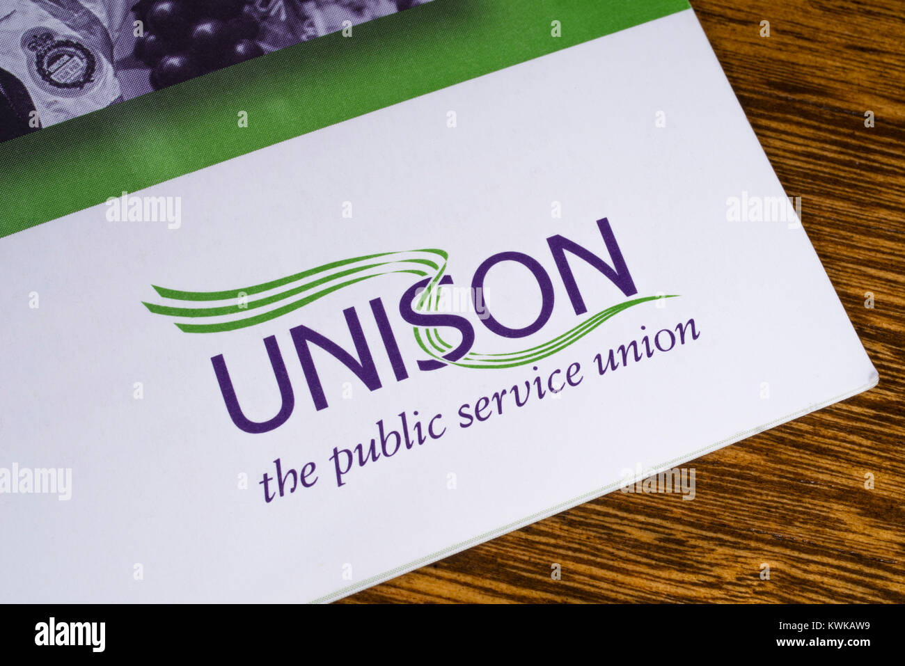 LONDON, UK - DECEMBER 18TH 2017: Close-up of the UNISON logo on a leaflet, on 18th December 2017.  UNISON is the - Stock Image