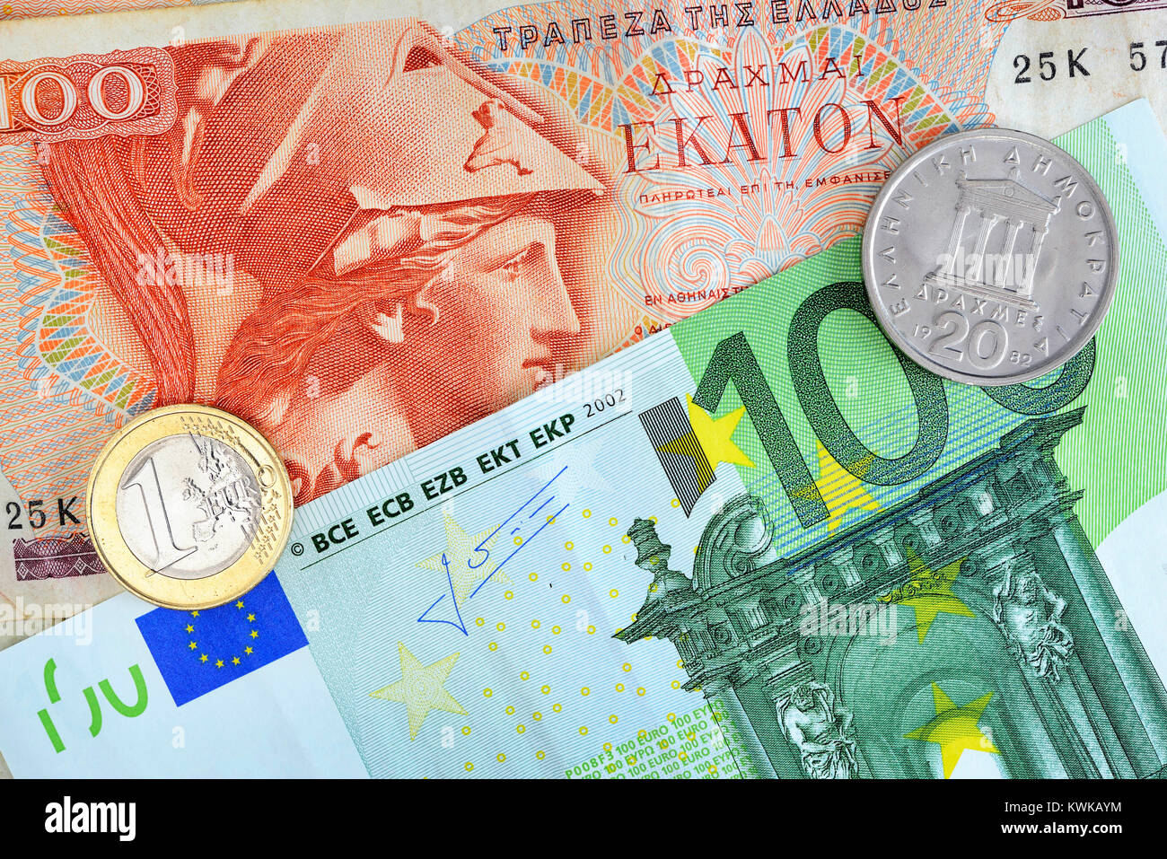 Greek drachm and euro, Griechische Drachme und Euro Stock Photo