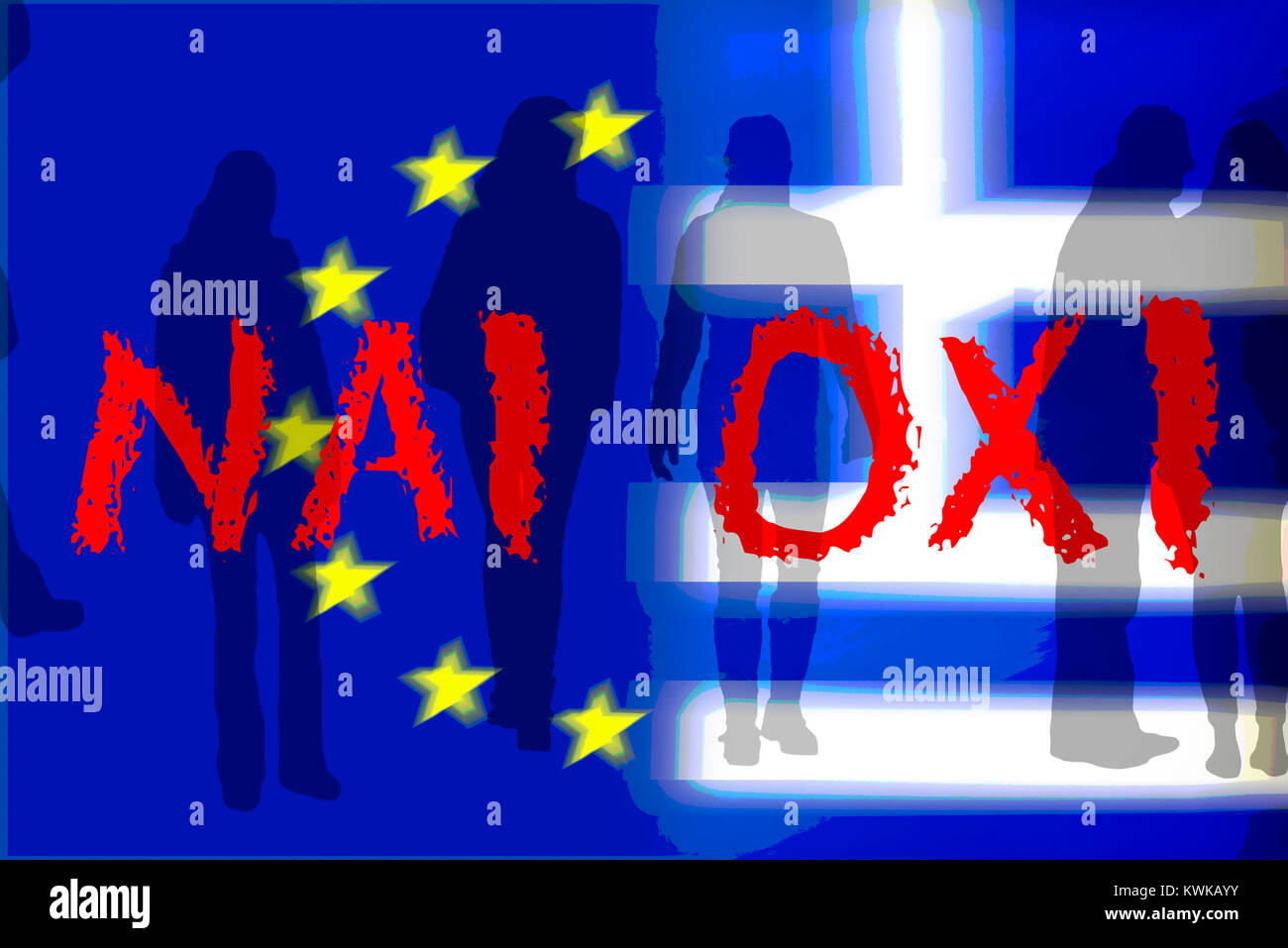 Greece and EU flag with the words nai and oxi and silhouettes of people, referendum in Greece, Griechenland- und Stock Photo