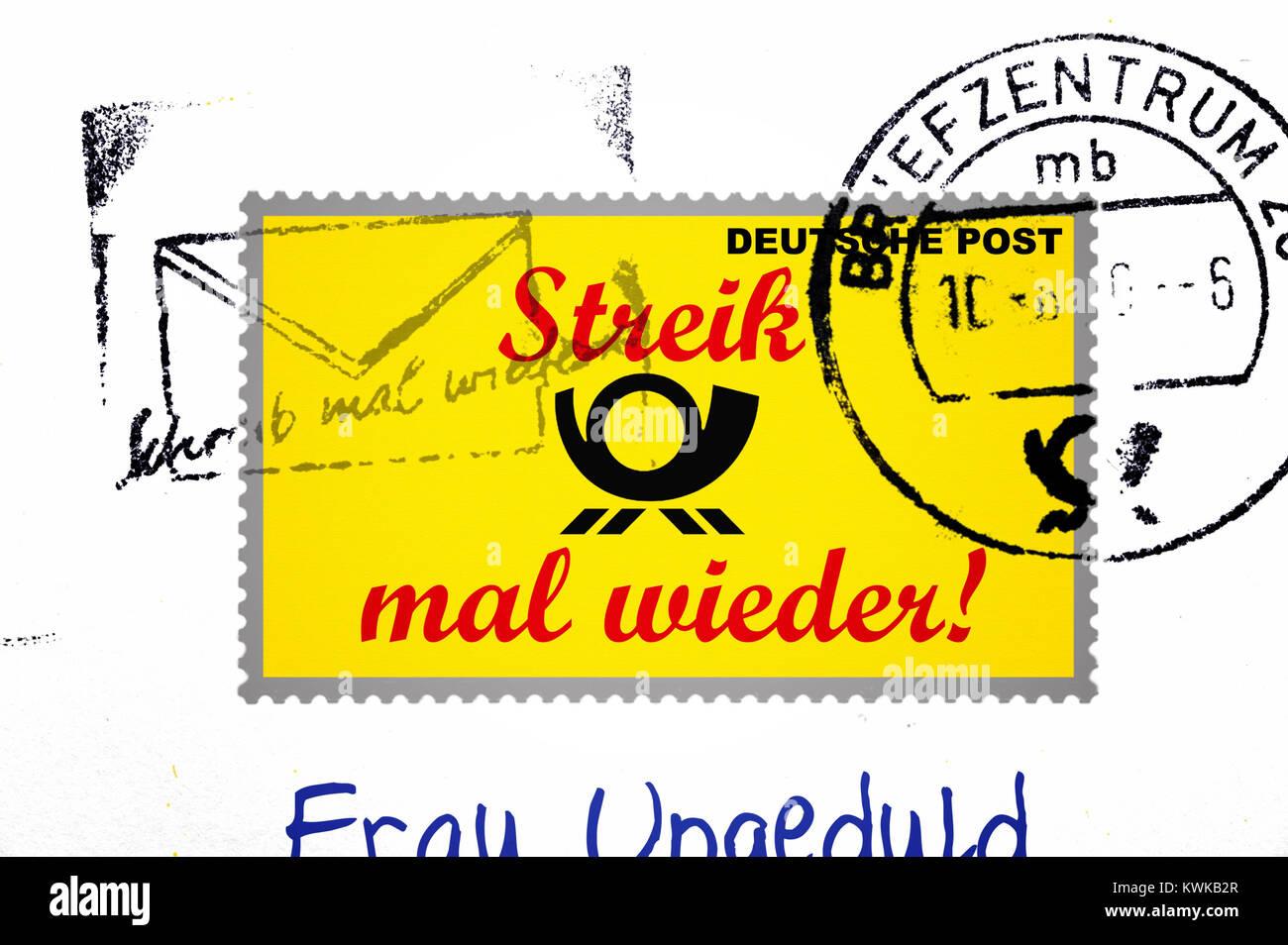 Stamp with stroke strike once more, symbolic photo postal strike, Briefmarke mit Schriftzug Streik mal wieder, Symbolfoto Stock Photo