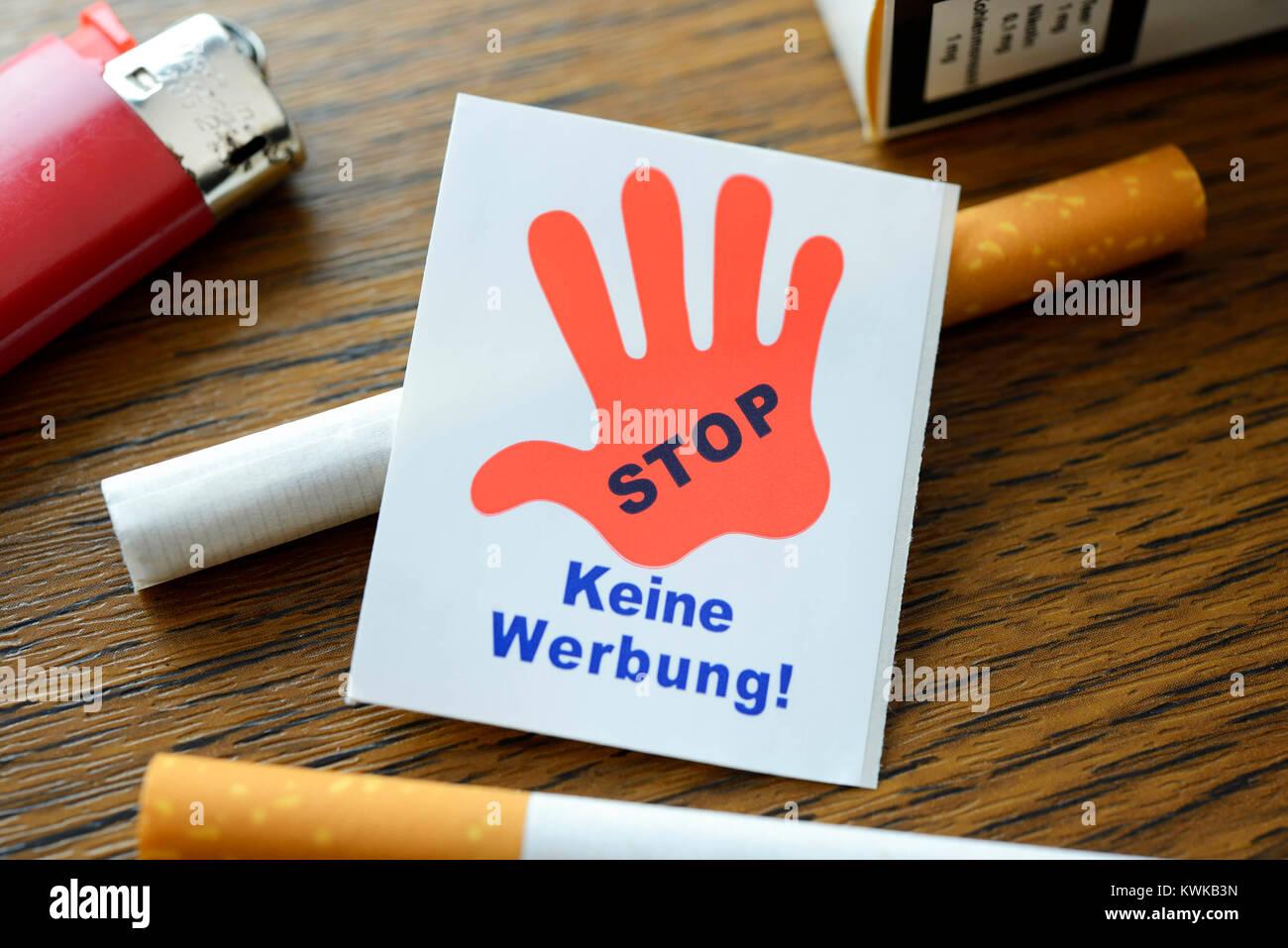 Cigarettes and none advertisement stickers, advertising ban on cigarettes, Zigaretten und Keine-Werbung-Aufkleber, - Stock Image