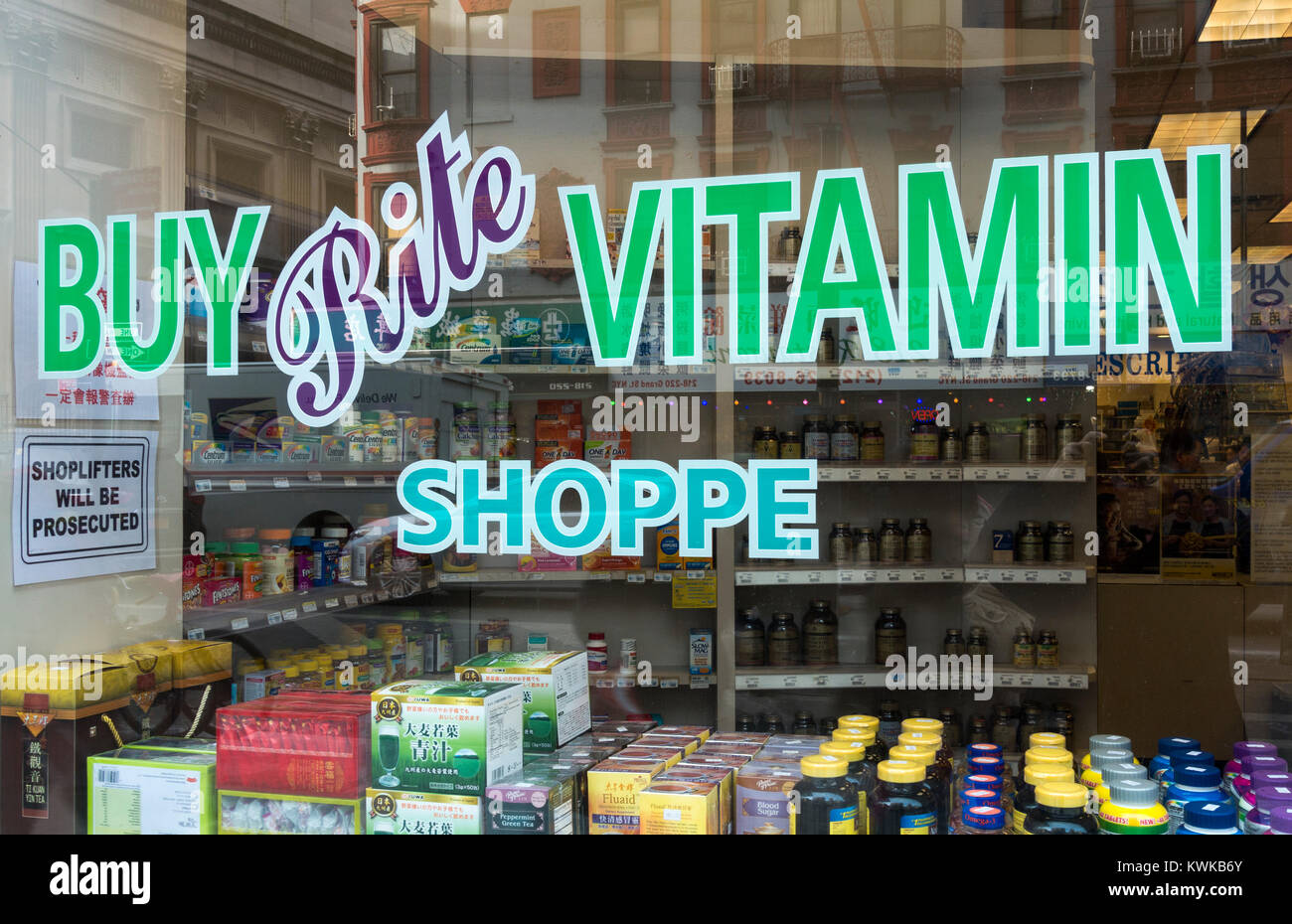 Window of a Buy Rite Vitamin Shoppe on Grand Street in Chinatown, New York City - Stock Image
