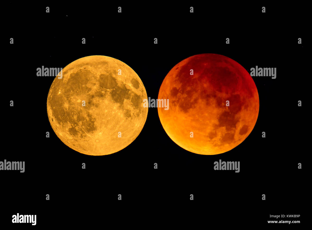 Full moon and blood moon, Vollmond und Blutmond - Stock Image