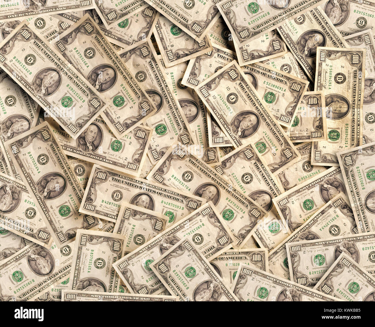 Collection of numerous one hundred dollar US bills - Stock Image