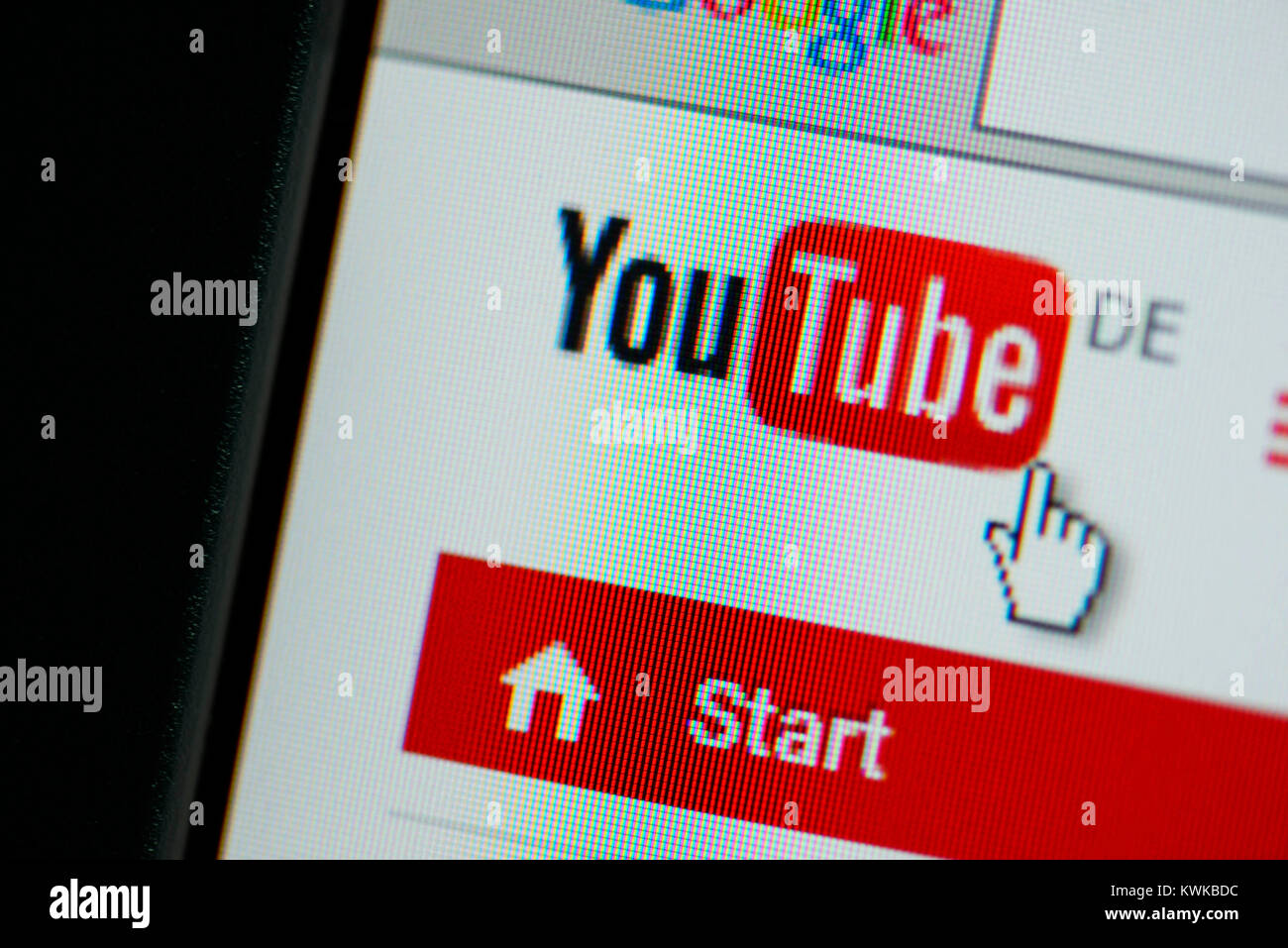 You tube logo on a screen, You tube wants to offer contents liable for costs, You Tube-Logo auf einem Bildschirm, - Stock Image