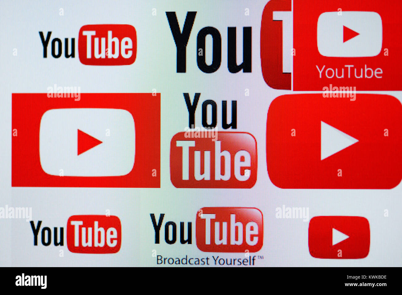 You tube logos on a screen, You tube wants to offer contents liable for costs, You Tube-Logos auf einem Bildschirm, - Stock Image