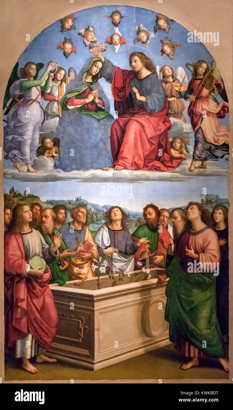 Coronation of the Virgin (The Oddi Altarpiece) by Raphael (Raffaello Sanzio da Urbino, 1483-1520), oil tempera on - Stock Image