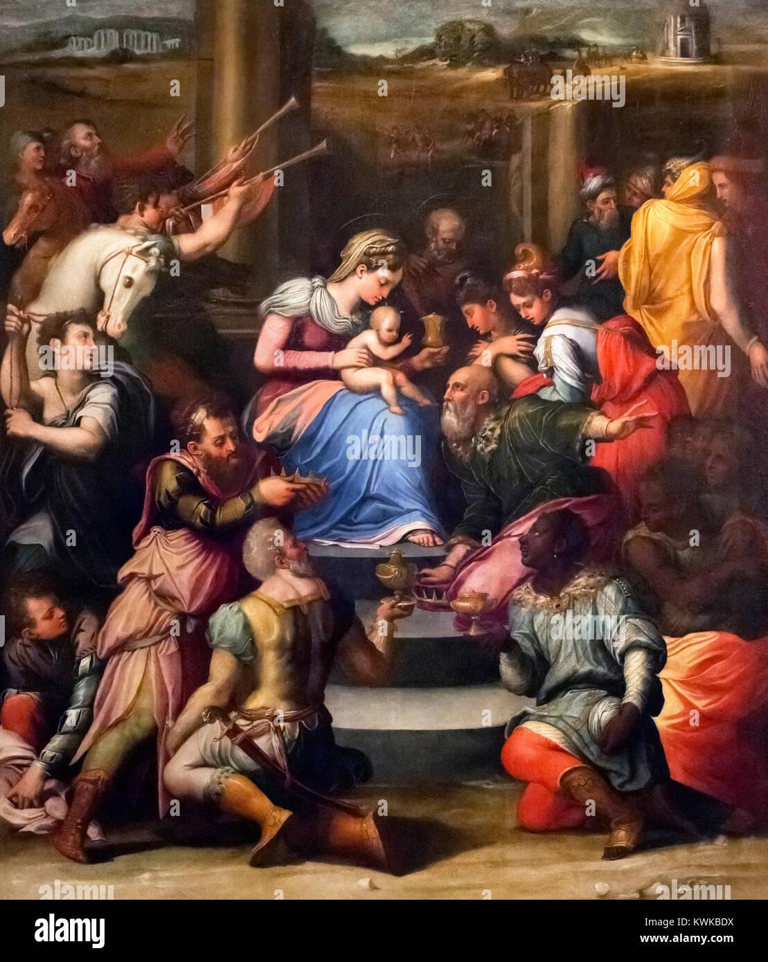 The Adoration of the Magi by Raffaellino del Colle (1490-1566) - Stock Image