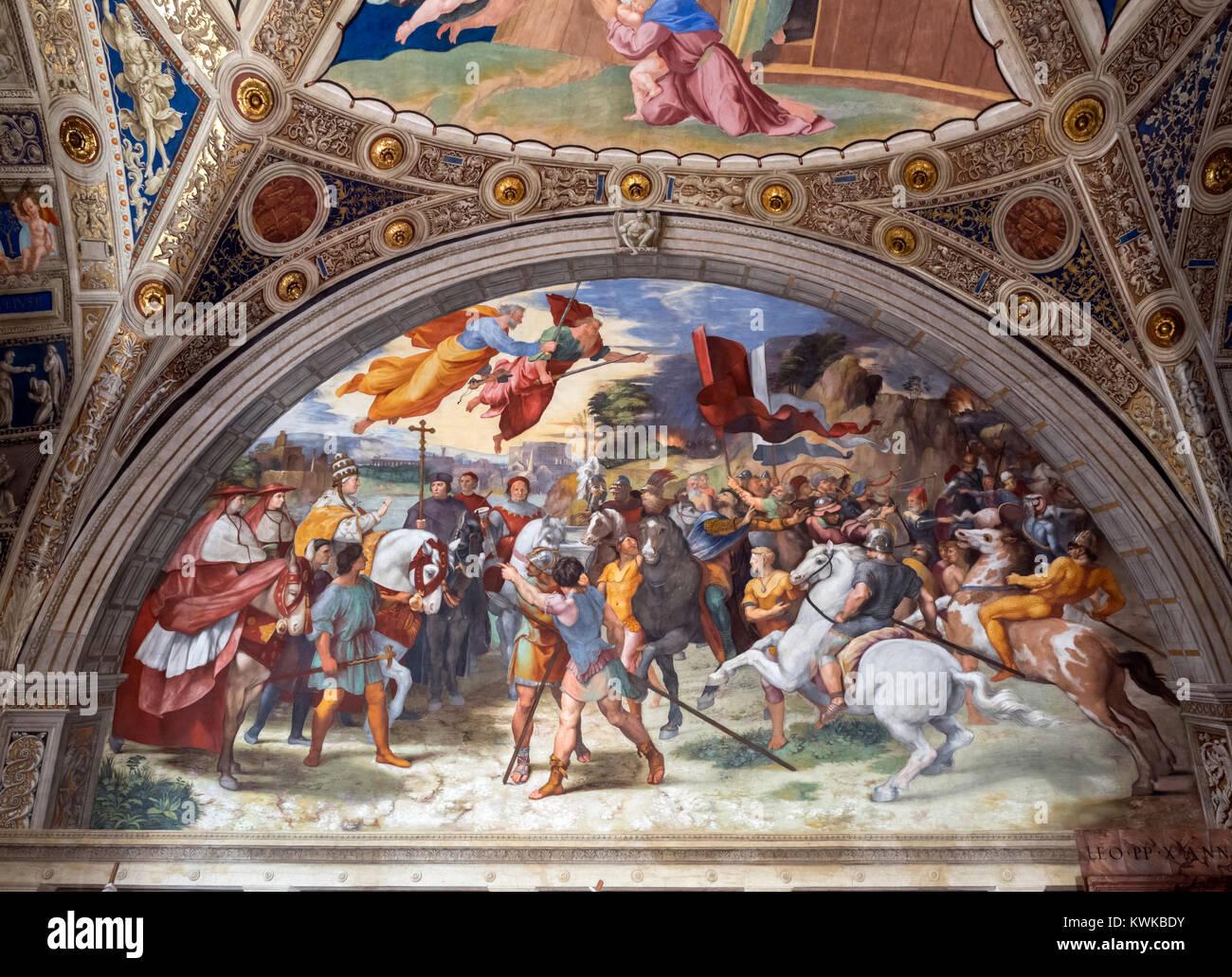 Fresco entitled Encounter of Leo the Great with Attila by Raphael (Raffaello Sanzio da Urbino, 1483-1520), c.1513 - Stock Image