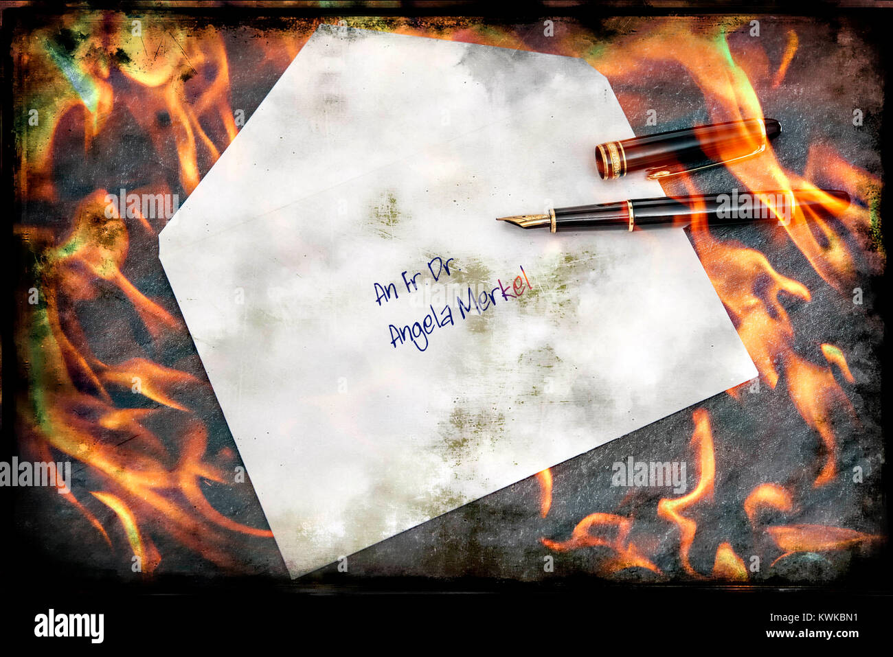 Urgent request to the Federal Chancellor Angela Merkel, symbolic photo, Brandbrief an die Bundeskanzlerin Angela - Stock Image
