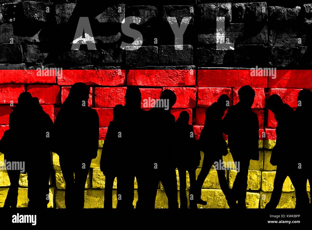 German flag, stroke asylum and silhouettes, symbolic photo refugee's crisis, Deutsche Fahne, Schriftzug Asyl und Stock Photo