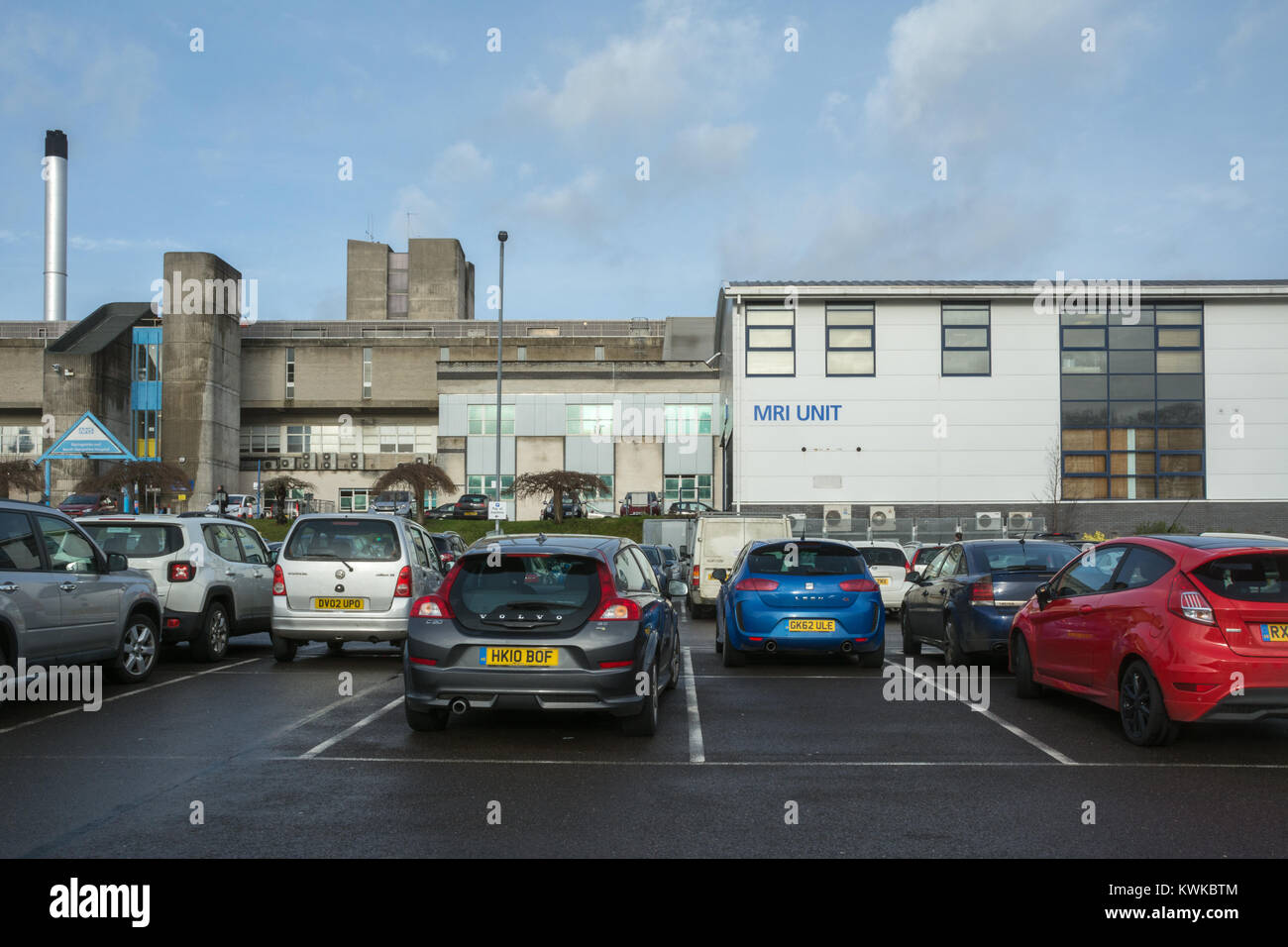 Basingstoke and North Hampshire Hospital, a National Health Hospital, from the car park - Stock Image