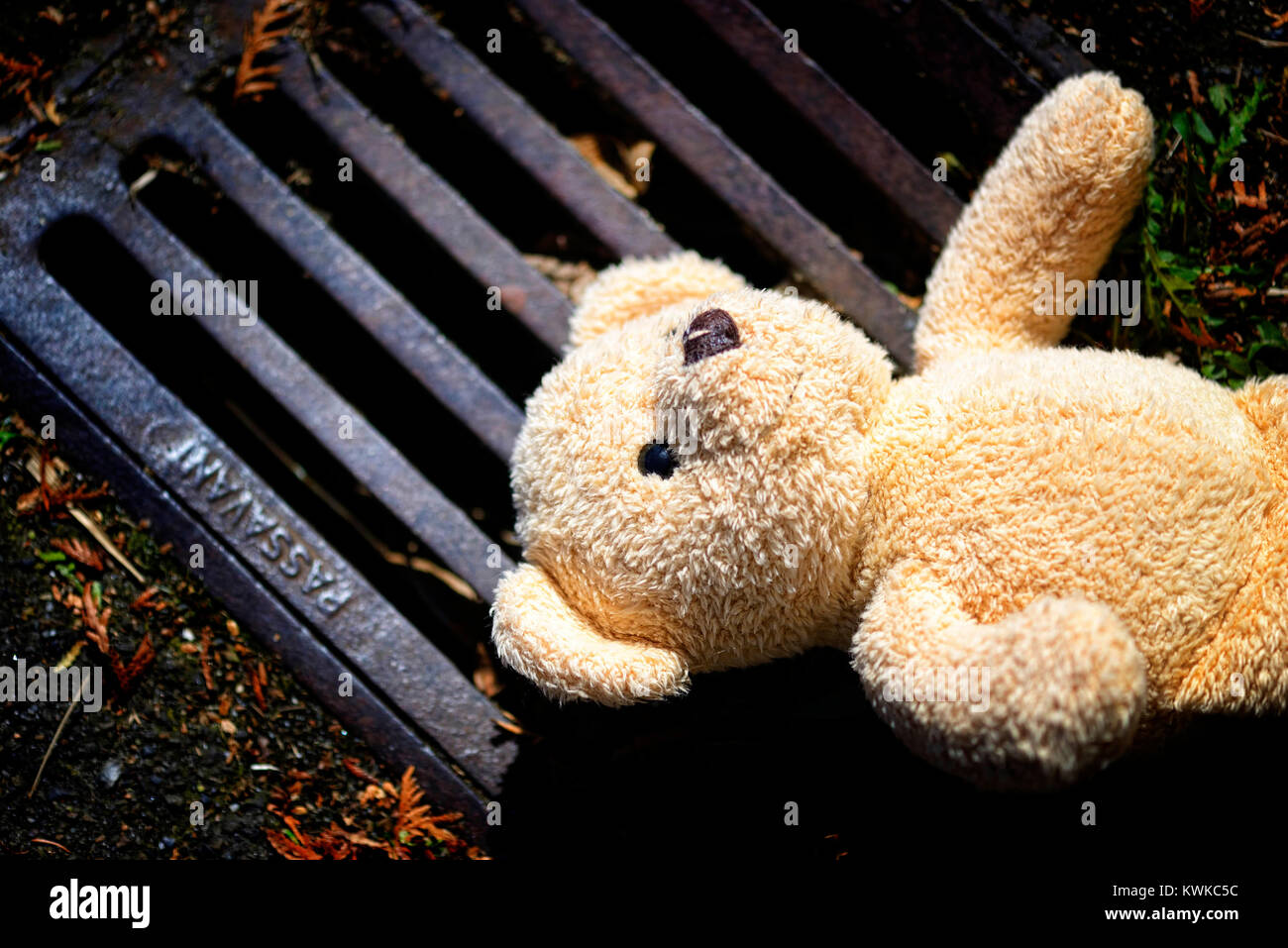 Material Teddy lies on the ground, symbolic photo childhood trauma and power, Ein Stoff-Teddy liegt auf dem Boden, Stock Photo