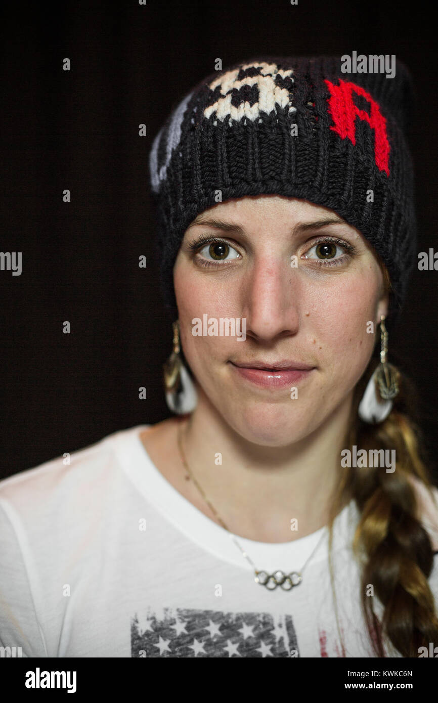 Portrait of Erin Hamlin, an Olympian American luger. Hamlin is the first female American luger to medal at any Winter - Stock Image