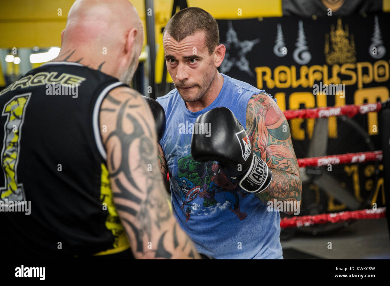 Former WWF Wrestler, CM Punk (Phil Brooks) trains at Roufusport Gym and MMA Academy in Milwaukee, Wisconsin. - Stock Image